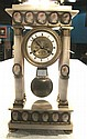 Unusual French Empire gilt metal and cameo mounted white marble portico clock, 19th century, The circular dial with Roman numerals and