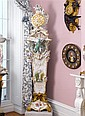 Important German gilt bronze mounted gilt decorated and hand-painted KPM porcelain tall case clock, circa 1895, Surmounted by a pair of
