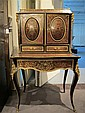 Louis XV style boulle marquetry inlaid ebonised bureau-de-dame, late 19th century, In two sections, the upper section with three-quarte