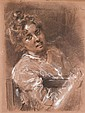 1 piece.  Von Uhde, Fritz (German, 1848-1911) Charcoal and white chalk on pale red paper.