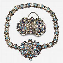Russian silver and cloisonné enameled belt and belt buckle, the belt by Ivan Saltykov, Moscow, 1882-99