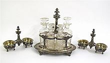 French silver cruet stand and two salt-cellars, Maison Odiot, Paris, circa 1850, with a Belgian royal arms