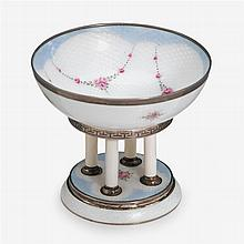 Continental sterling silver and guilloché enameled miniature tazza,