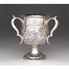 Sterling silver three-handled loving cup, Davis & Galt, Philadelphia, PA, 1888-96, retailed by Shreve, Crump, and Low