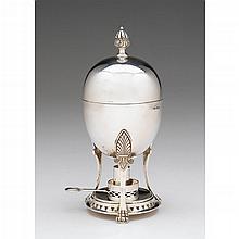 Edward VII silver egg coddler, Roberts & Belk Ltd., Sheffield, 1905-06