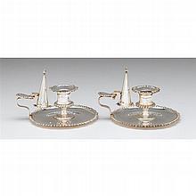 Pair of Edward VII silver chambersticks, James Dixon & Sons, Ltd., Sheffield, 1902-03