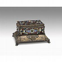 Continental gilt-metal, champlevé enameled and jewel inset singing bird automaton box, late 19th/early 20th century