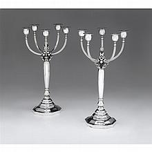 Fine pair of Danish silver five-light candelabra, designed by Johan Rohde for Georg Jensen, Copenhagen, 1945-77
