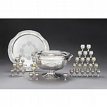 Monumental sterling silver punch bowl with tray and thirty goblets, Reed and Barton, Taunton, MA, 1933