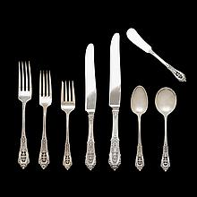 Sterling silver flatware service, William S. Warren for R. Wallace & Sons Mfg. Co., Wallingford, CT, 1934