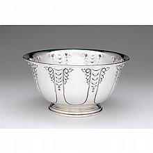 Sterling silver punch bowl, probably Manchester Silver Co., Providence, RI, 20th century