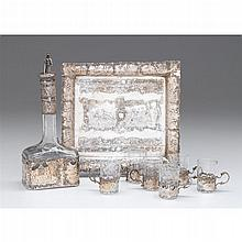 Continental silver cordial set, late 19th/early 20th century