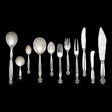 Danish silver flatware service for eight, Johan Rohde for Georg Jensen, Copenhagen, 1917