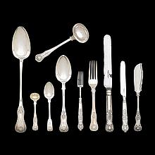 English silver associated flatware service, various makers, dates, and places
