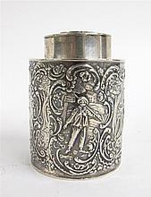 German silver tea caddy, early 20th century