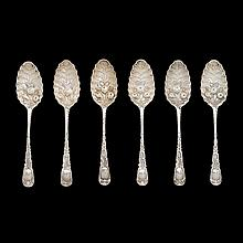 Six George II silver berry spoons, Ebenezer Coker, London, 1753-54
