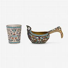 Two Russian silver and cloisonné enameled pieces, late 19th/early 20th century