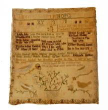 Needlework Sampler/Family Record, margaret rhoads, chester county, pa, dated