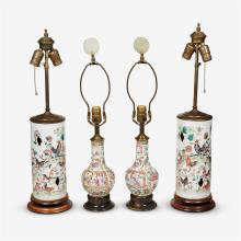 Two pair of Chinese export porcelain lamps, 20th century