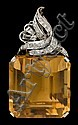 White gold, diamond and citrine pendant, mid 20th century, Large step cut citrine, prong set with pave set diamond bail.