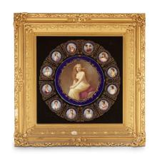 Framed group of K.P.M. style porcelain plaques, late 19th century
