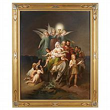 A massive Berlin (K.P.M.) painted porcelain plaque, The Flight into Egypt, late 19th century, signed Carl Meinelt