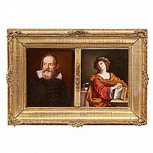 Two K.P.M. style painted porcelain plaques, 19th century
