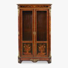 Napoleon III gilt brass mounted amaranth and fruitwood floral marquetry display cabinet, late 19th century
