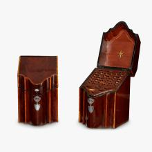 Pair of George III inlaid mahogany serpentine form knife boxes, late 18th century