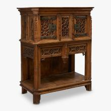 Flemish Gothic style oak cabinet on stand, 19th century, with earlier elements