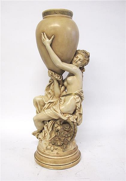 After A. Carrier-Belleuse, a ceramic model of a maiden with amphora, ,