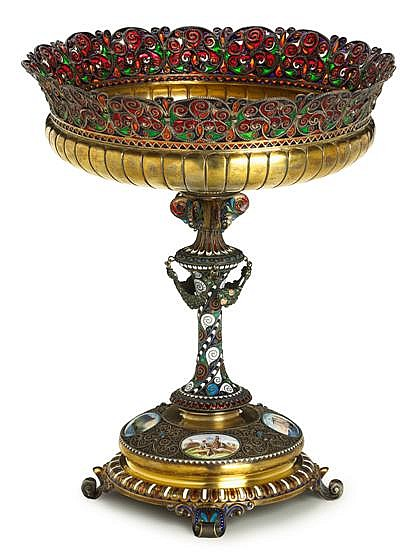 Russian plique-a-jour, cloisonné, champleve, and painted enamel silver-gilt centerpiece, late 19th century, possibly bolin, moscow, The