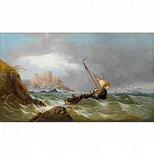 JAMES WEBB, (BRITISH 1825-1895), FISHER BOAT IN ROUGH SEAS