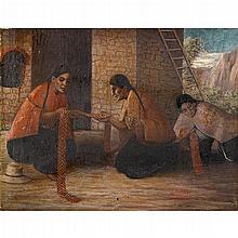 MARIO URTEAGA ALVARADO, (PERUVIAN 1875-1957), WOMEN MAKING TEXTILES