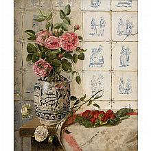 F. DE WIT, (BELGIAN 19TH-20TH CENTURY), FLORAL STILL LIFE WITH TILED WALL