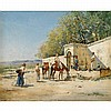 VICTOR PIERRE HUGUET, (FRENCH 1835-1902), TRAVELERS AND HORSES AT REST, Victor Huguet, $3,000