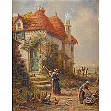WILLIAM BLANDFORD FLETCHER, (BRITISH 1866-1936), OLD WHITBY, FISHING VILLAGE ALONG YORKSHIRE COAST, ENGLAND