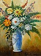PAUL EMILE PISSARRO, (FRENCH 1884-1972), STILL LIFE OF MIXED FLOWERS IN A BLUE VASE