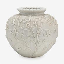 A rare Chinese white-glazed biscuit porcelain jar, 18th century