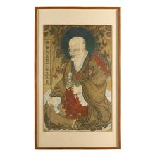 A large Korean ink and gouache painting on paper depicting a monk or arhat, joseon dynasty