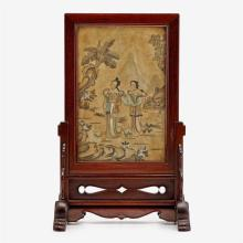 A Chinese painted stone table screen with rosewood stand, signed and dated 1811