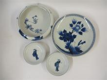 Four ciruclar Japanese blue and white porcelain vessels, early meiji period