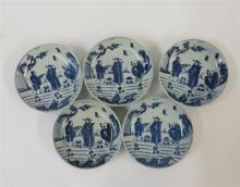 Five Japanese ko-somatsuke blue and white porcelain 'official' saucer dishes, 18th century