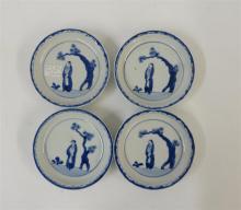 Four Japanese ko-somatsuke blue and white porcelain saucer dishes, 18th century