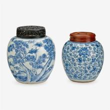 A Chinese blue and white porcelain 'three friends' ginger jar, together with a smaller blue and white ginger jar, 18th century