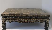 Two Korean mother-of pearl inlaid black lacquer rectangular low tables, joseon dynasty