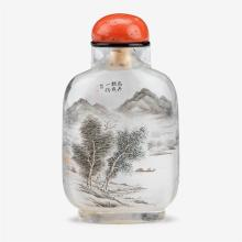 A Chinese landscape inside painted rock crystal snuff bottle mounted with coral stopper, signed 'yihu', wang xisan, 1969