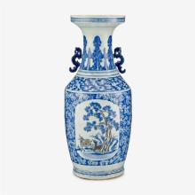 A large Chinese underglaze blue and copper red twin handled porcelain vase, qing dynasty