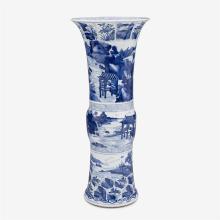 A Chinese blue and white landscape porcelain Gu vase, kangxi period