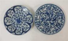 Two export style blue and white porcelain plates with floral motifs, kangxi period